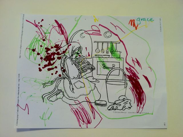 Girl reading, in colored marker (2011)