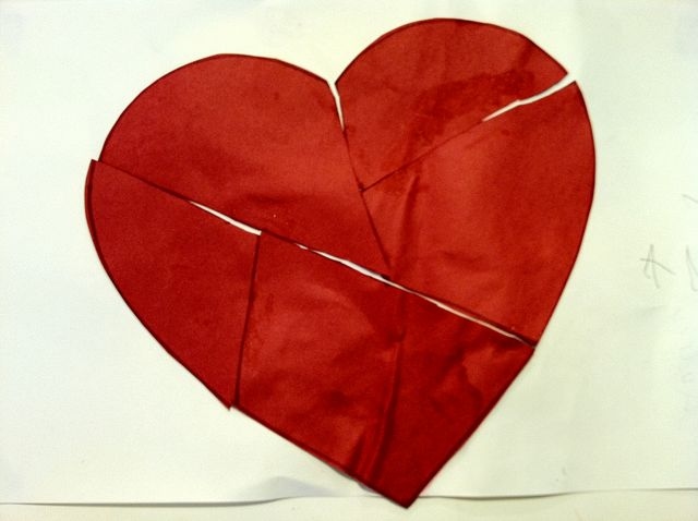 Mended heart, using glue and red construction paper (2010/11)