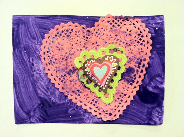 Concentric hearts, with purple painted background (2010/11)