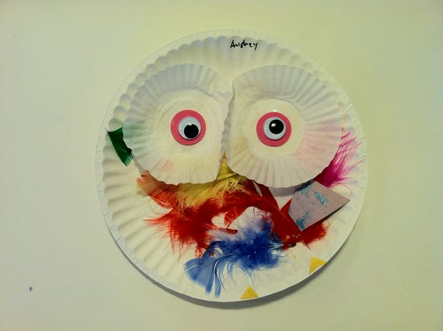 Owl, using glue, feathers, cupcake wrappers and googley eyes (circa 2010)