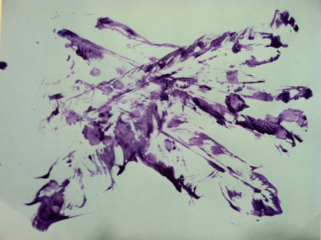 Feathers, in purple paint (2011)