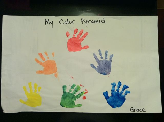 Hand prints, in colored paint (2011)