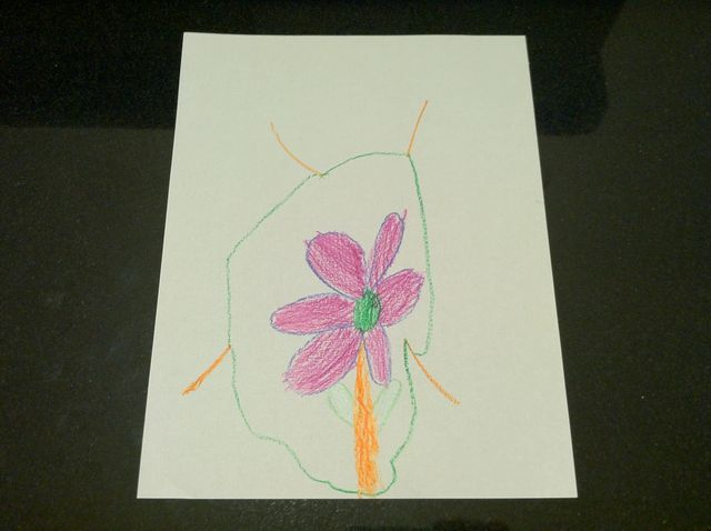 Flower inside green circle, in crayon